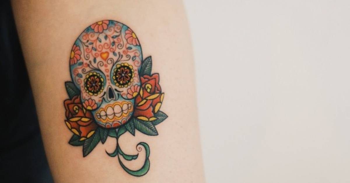 Sugar Skull Tattoo On The Left Forearm