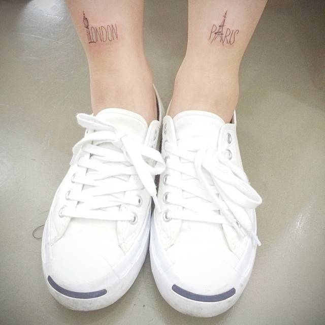 London And Paris Shin Tattoos