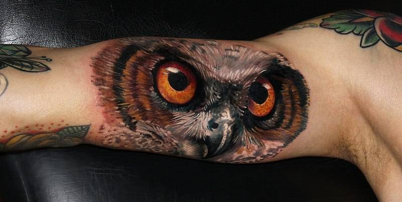 Realist Owl Eyes On The Right Inner Arm