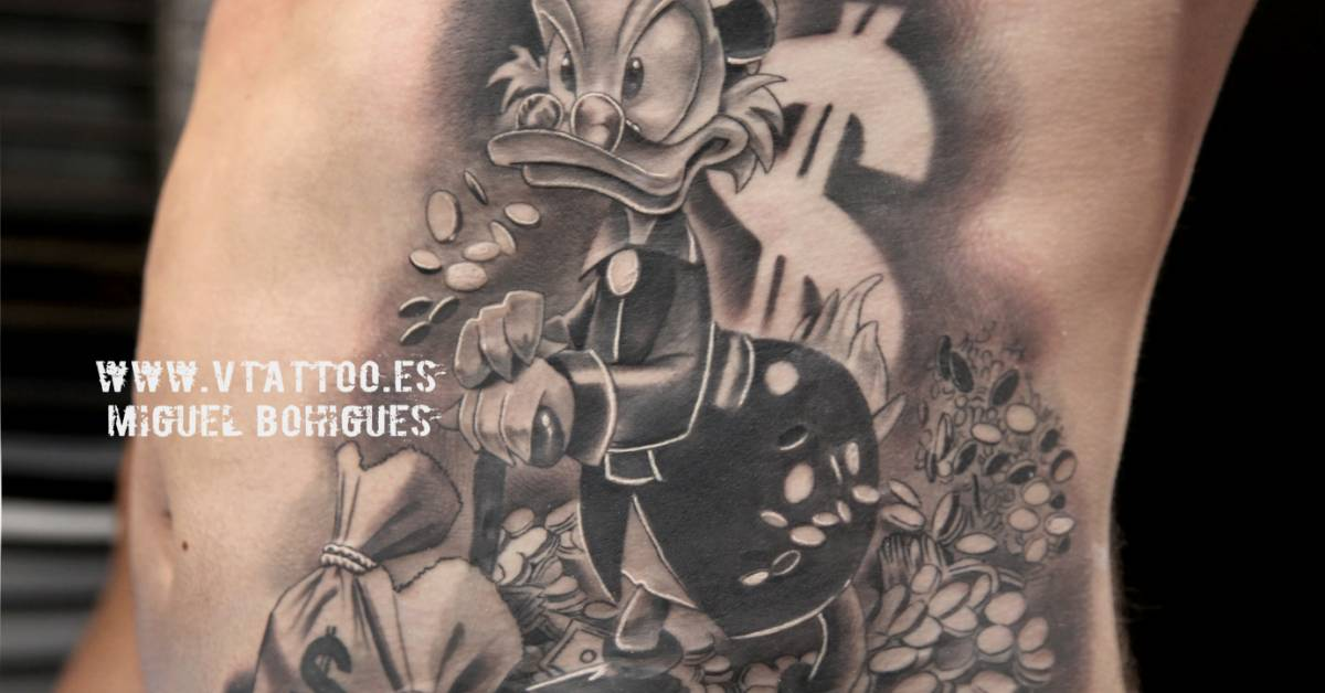 Scrooge Mcduck S Black And Grey Style Tattoo