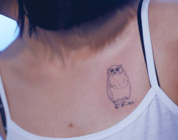 Fine Line Style Owl Tattoo On The Chest