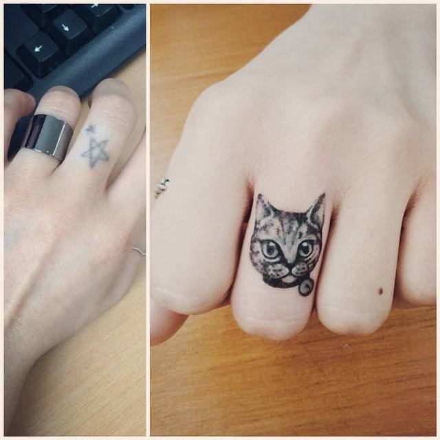 Cover Up Finger Tattoo Of A Small Cat