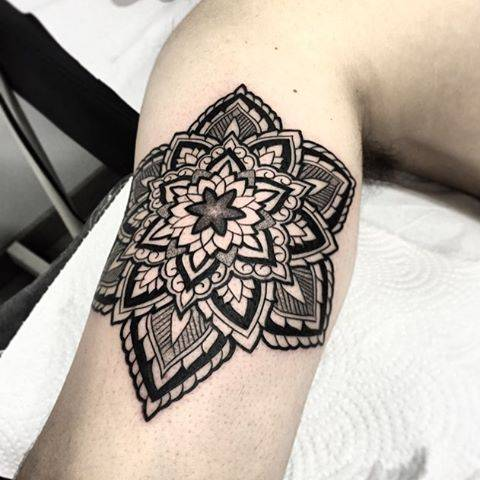 Ornamental Style Mandala Tattoo On The Right Inner Arm