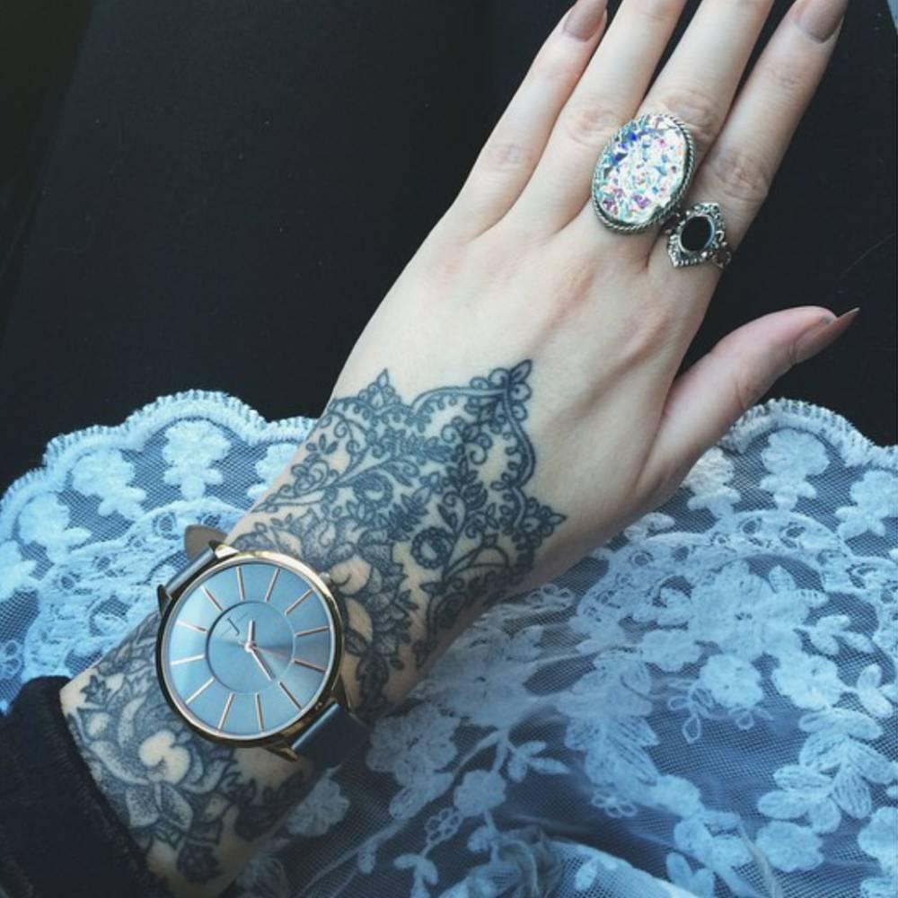floral wrist tattoo designed by olivia fayne. Black Bedroom Furniture Sets. Home Design Ideas