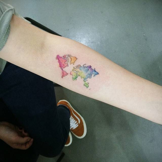Watercolor world map tattoo pictures to pin on pinterest tattooskid watercolor gumiabroncs Gallery