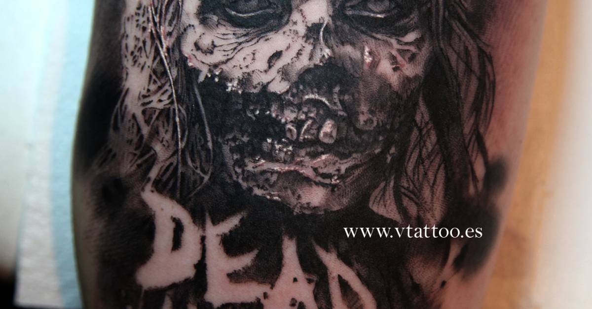 the walking dead inspired black and grey style tattoo. Black Bedroom Furniture Sets. Home Design Ideas