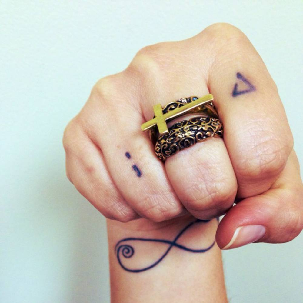 Wrist tattoo of a infinity and two finger tattoos of a wrist tattoo of a infinity and two finger tattoos of a semicolon and an open buycottarizona Choice Image