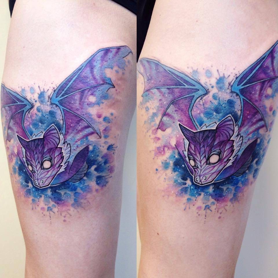 watercolor style bat tattoo on the right thigh. Black Bedroom Furniture Sets. Home Design Ideas