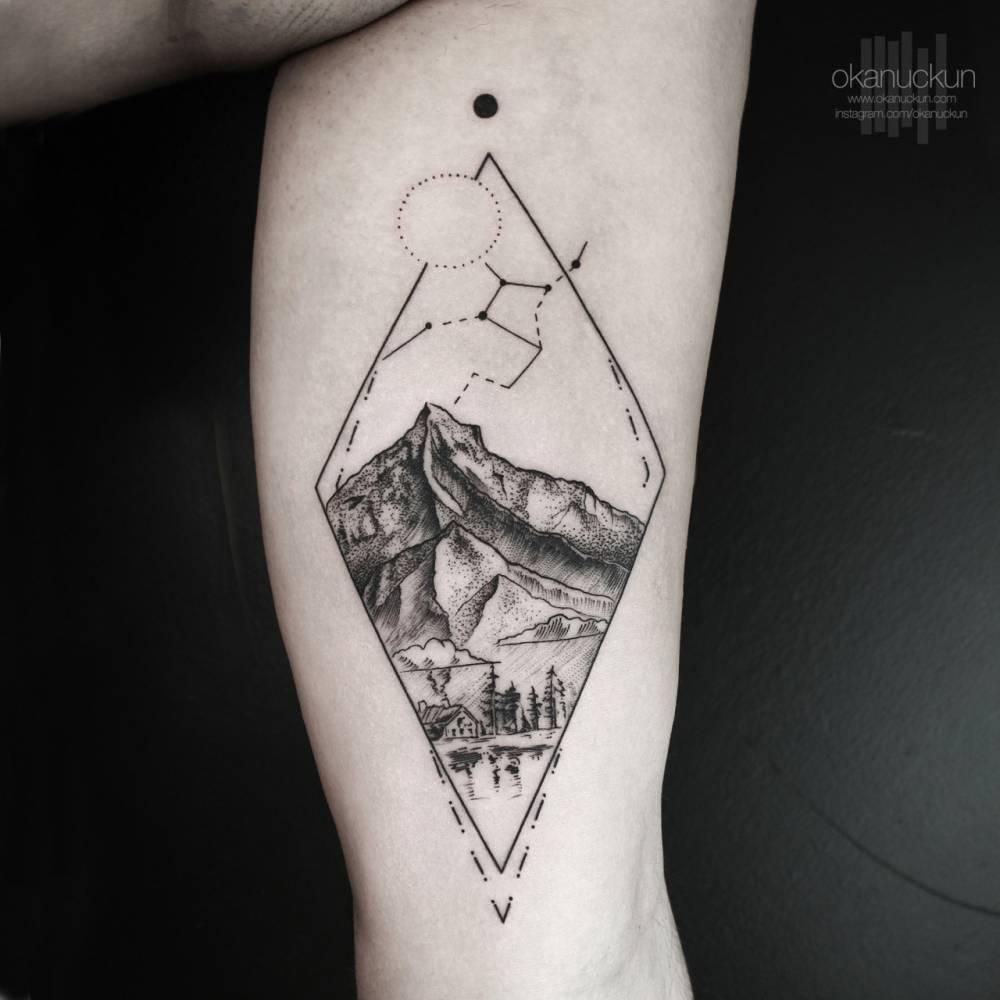 landscape tattoo on the left inner arm. Black Bedroom Furniture Sets. Home Design Ideas