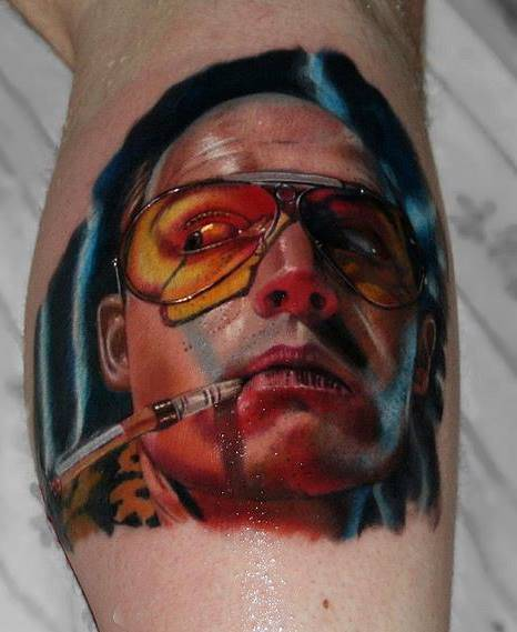 Fear and loathing in Las Vegas inspired tattoo on the calf.