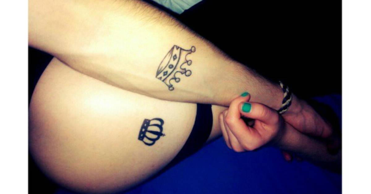 king and queen crown matching tattoos on magdalena and