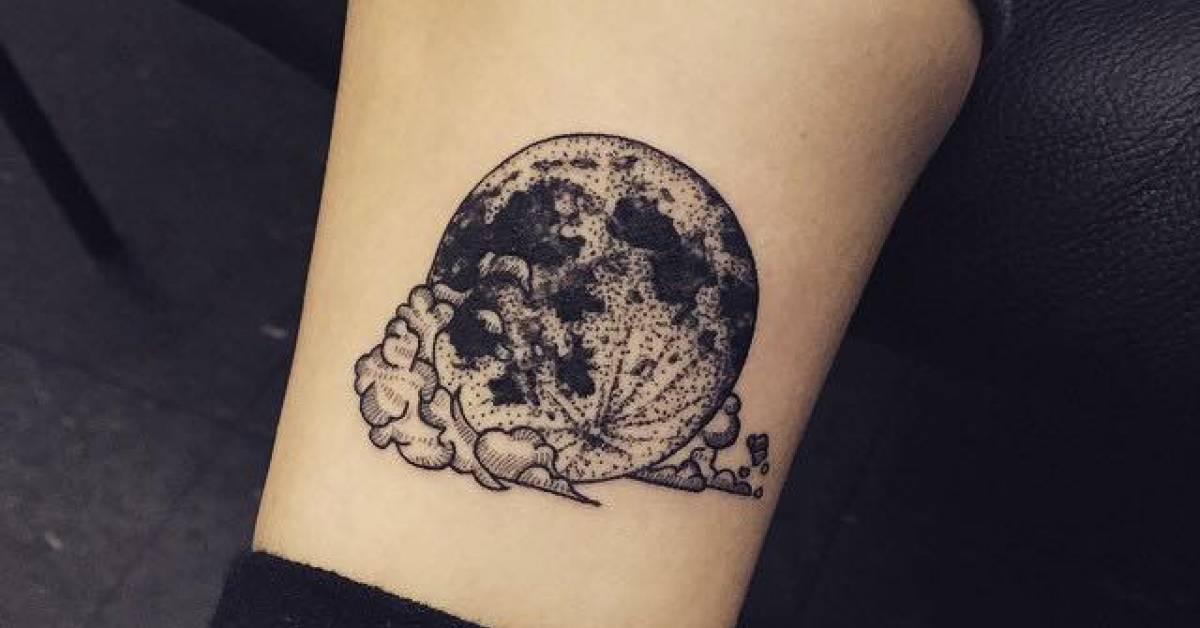 Moon And Cloud Tattoo Small: Illustrative Moon And Cloud Tattoo