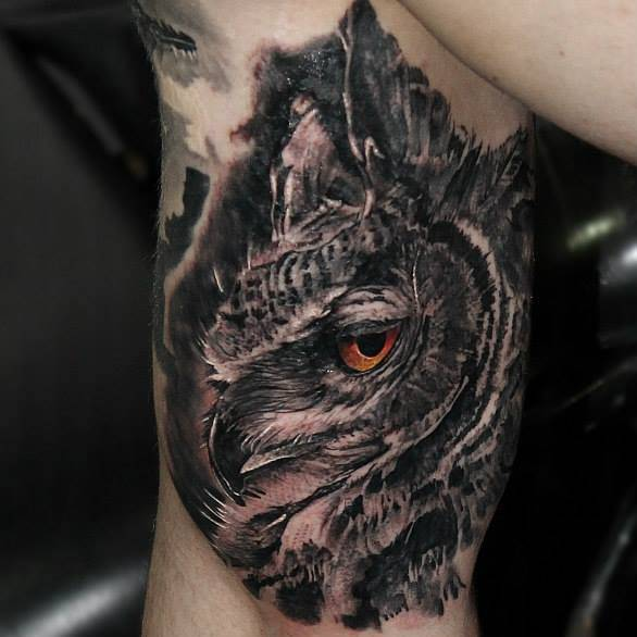 realistic owl tattoo on the right inner arm. Black Bedroom Furniture Sets. Home Design Ideas