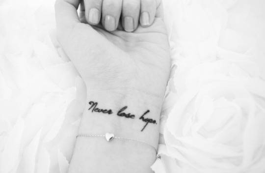Wrist Tattoo Saying Never Lose Hope On Vanessa