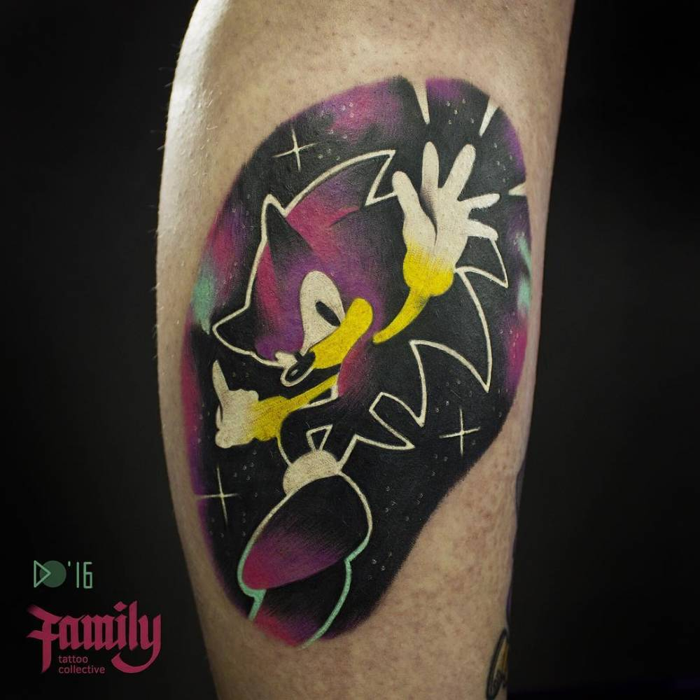Galactic Sonic The Hedgehog Tattoo On The Right Calf