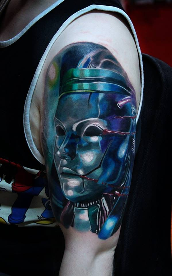 Realistic Jenova tattoo on the left upper arm. Jenova is an extraterrestrial life-form in Final Fantasy VII.