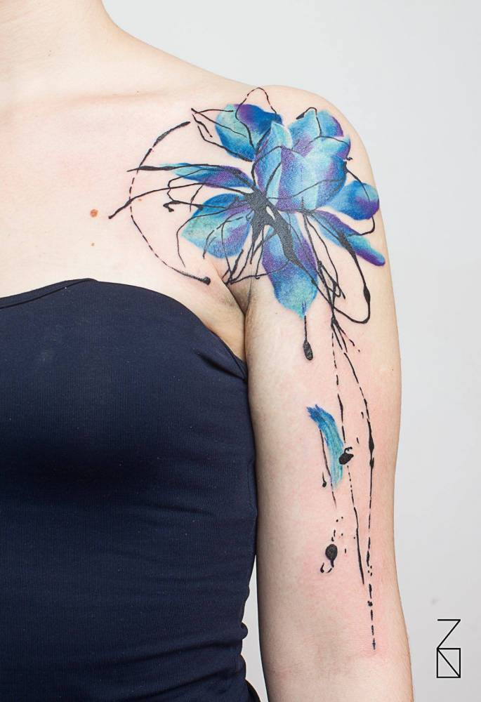 Abstract style blue lotus flower tattoo on the left abstract style blue lotus flower tattoo on the left shoulder mightylinksfo