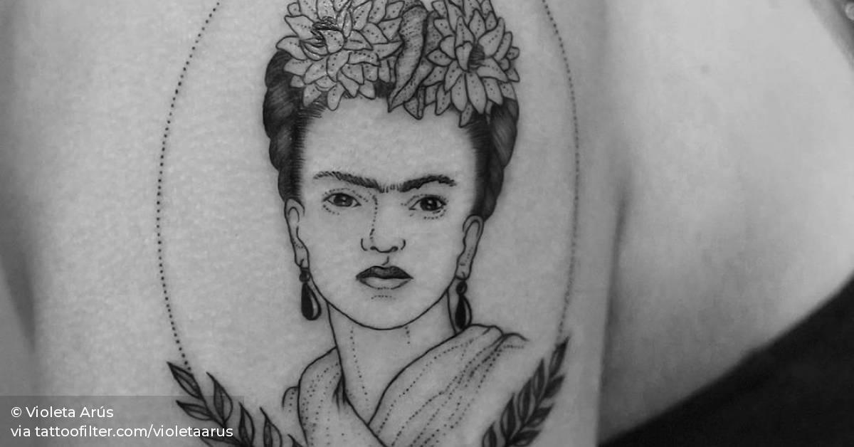 Fine Line Style Frida Kahlo Portrait Tattoo On The