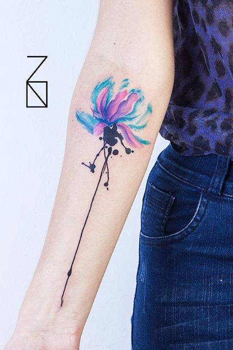 Watercolor Style Lotus Flower Tattoo On The Right