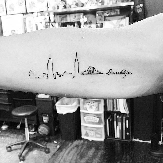 Brooklyn skyline tattoo on the right inner arm for Brooklyn tattoo ideas