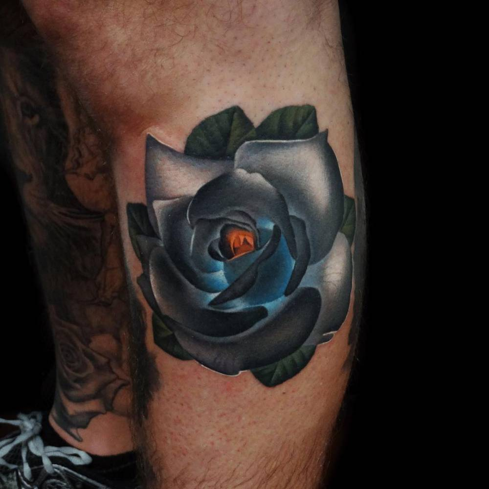 Realistic Grey Rose Tattoo On The Left Lower Leg