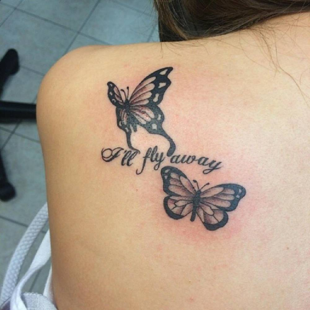 shoulder blade tattoo of two butterflies together with. Black Bedroom Furniture Sets. Home Design Ideas