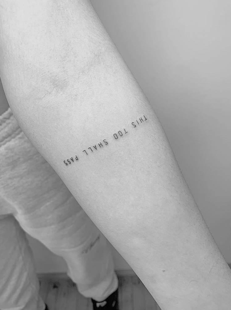 """This too shall pass"" tattoo on Amelia Gray."