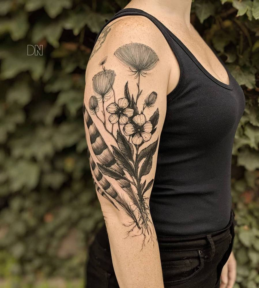 Freehand Queen Anne S Lace Prairie Rose And Hawk