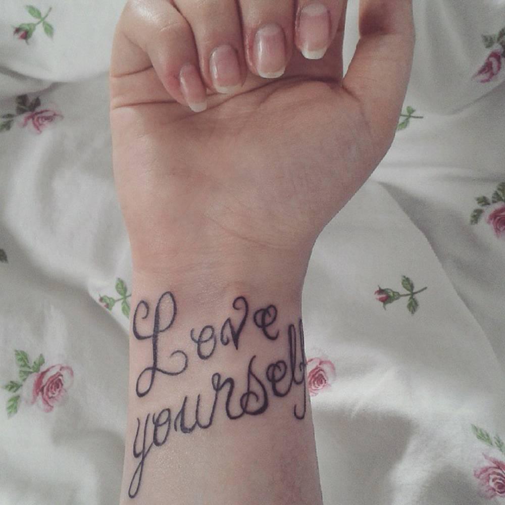 Tattoo saying love yourself on chiara wrist tattoo saying love yourself on chiara urmus Image collections