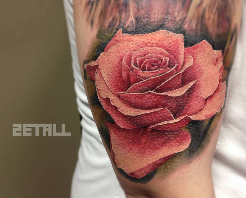 Realistic Pink Rose Tattoo On The Right Upper Arm