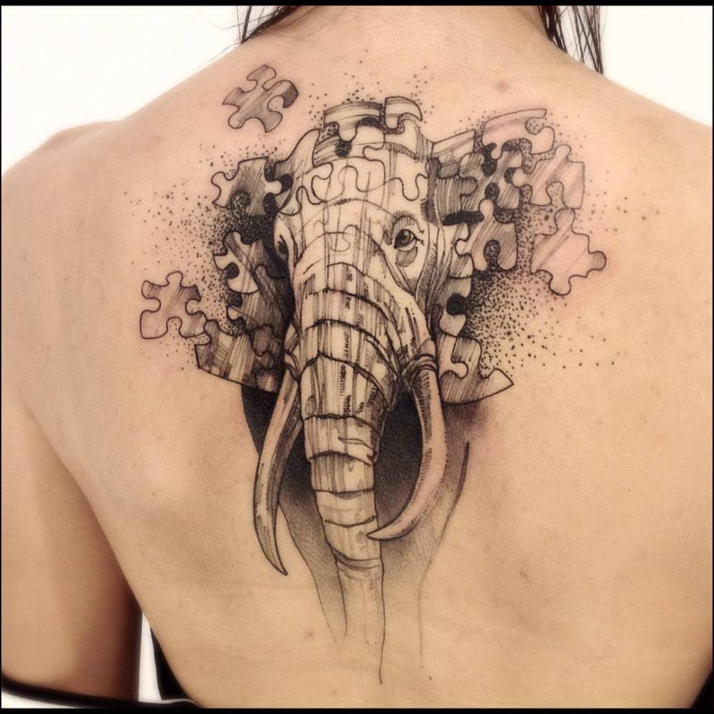 sketch work style elephant puzzle tattoo on the upper. Black Bedroom Furniture Sets. Home Design Ideas