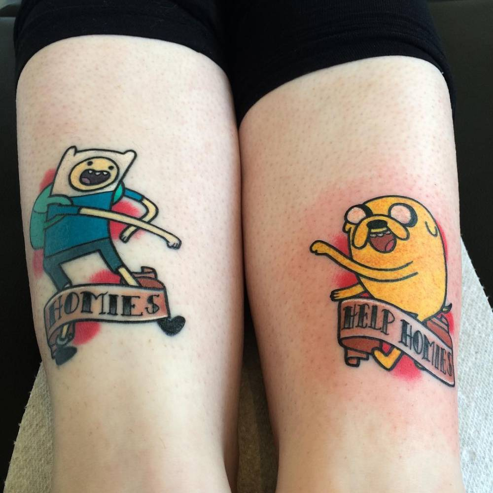 finn the human and jake the dog matching tattoos. Black Bedroom Furniture Sets. Home Design Ideas