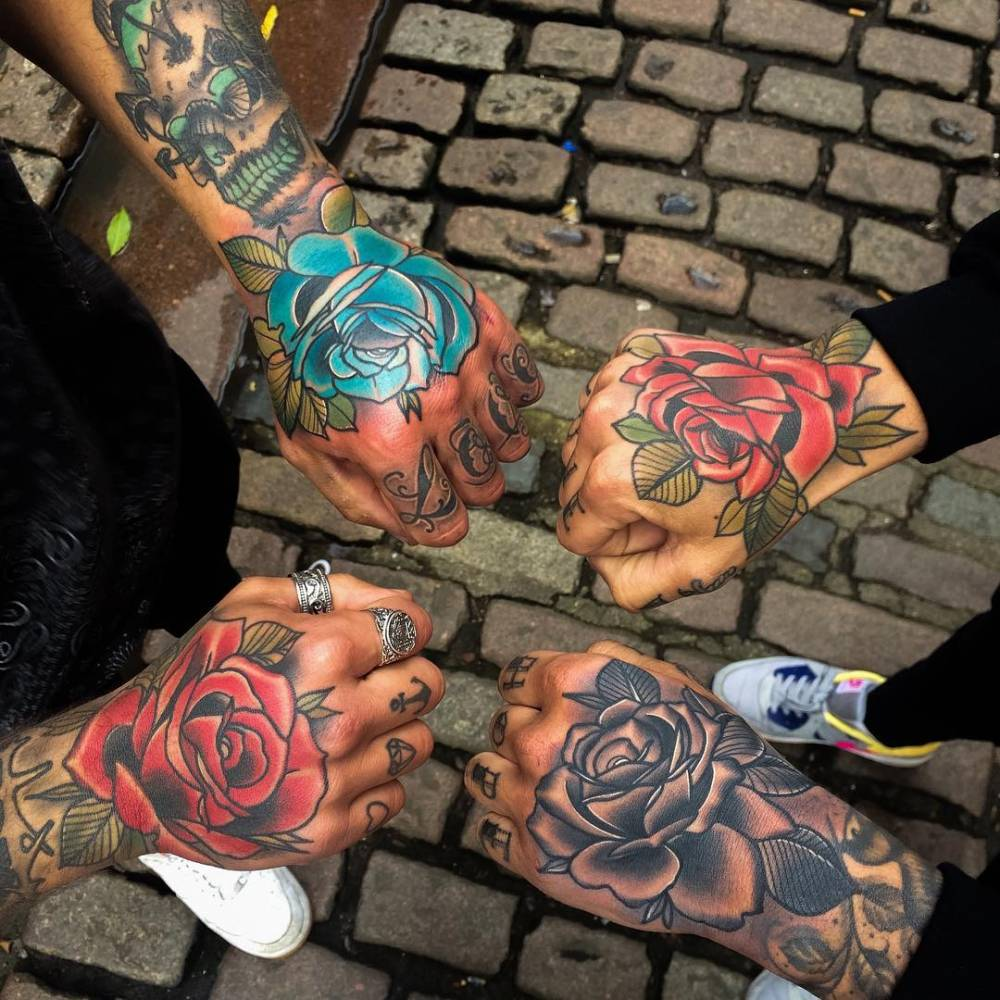 Traditional Style Flower Tattoos