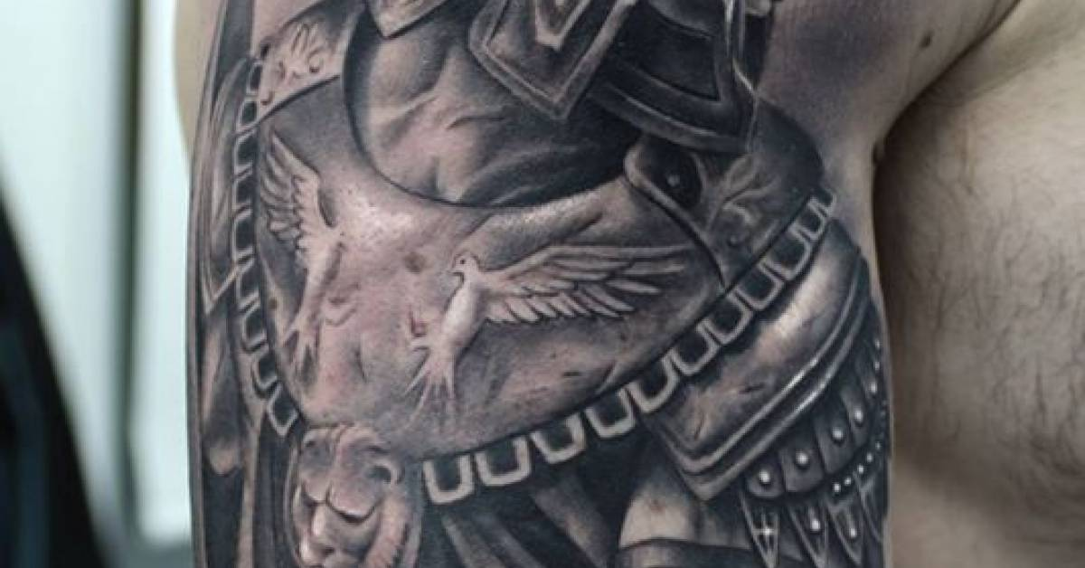 black and grey style roman fighter tattoo together