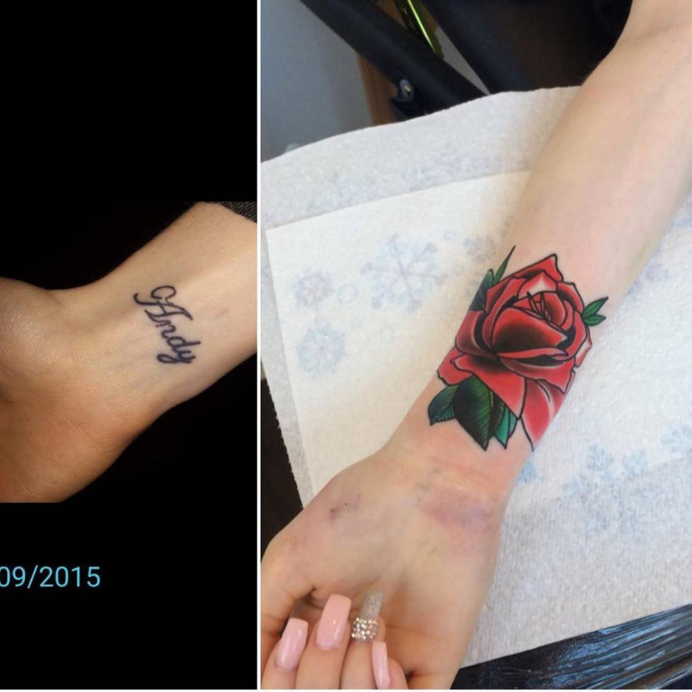 Traditional red rose cover-up tattoo on the right inner