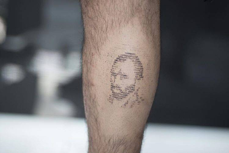 Typewriter style Van Gogh's self portrait tattoo.