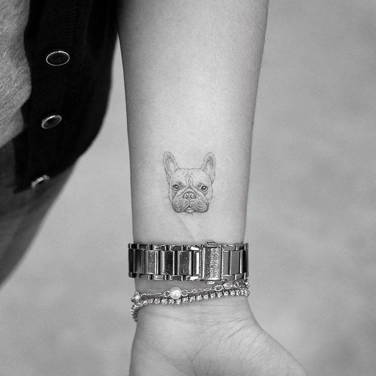 Single needle french bulldog portrait tattoo on the inner forearm.