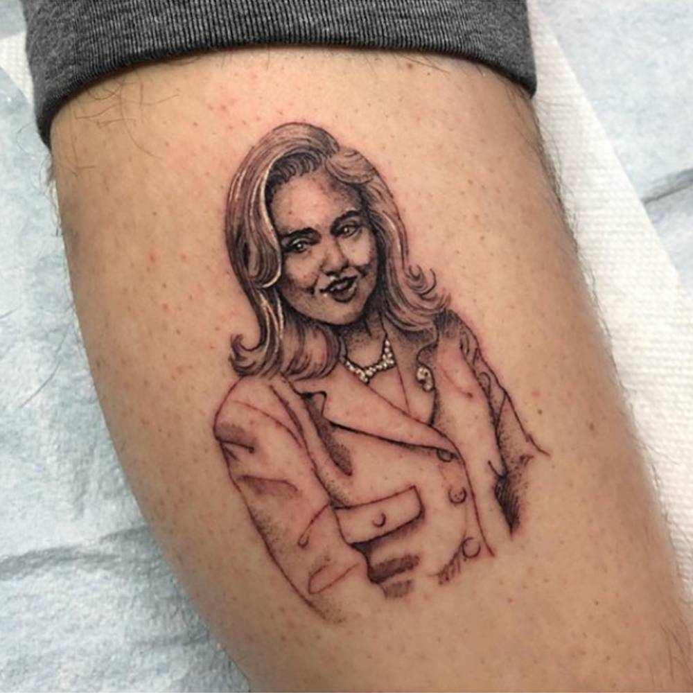 Hillary Clinton tattoo on Pete Davidson.